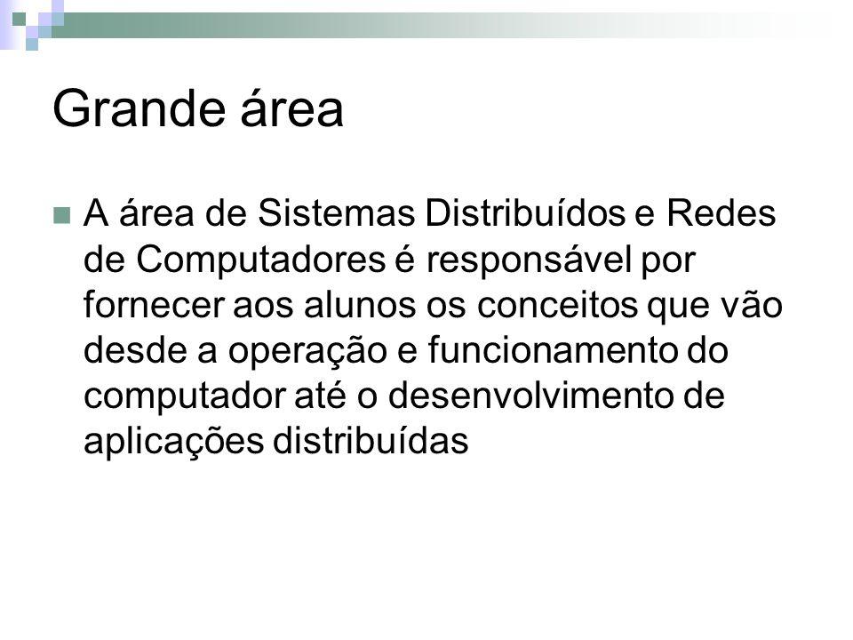 Grande área A área de Sistemas Distribuídos e Redes de Computadores é responsável por fornecer aos alunos os conceitos que vão desde a operação e funcionamento do computador até o desenvolvimento de aplicações distribuídas