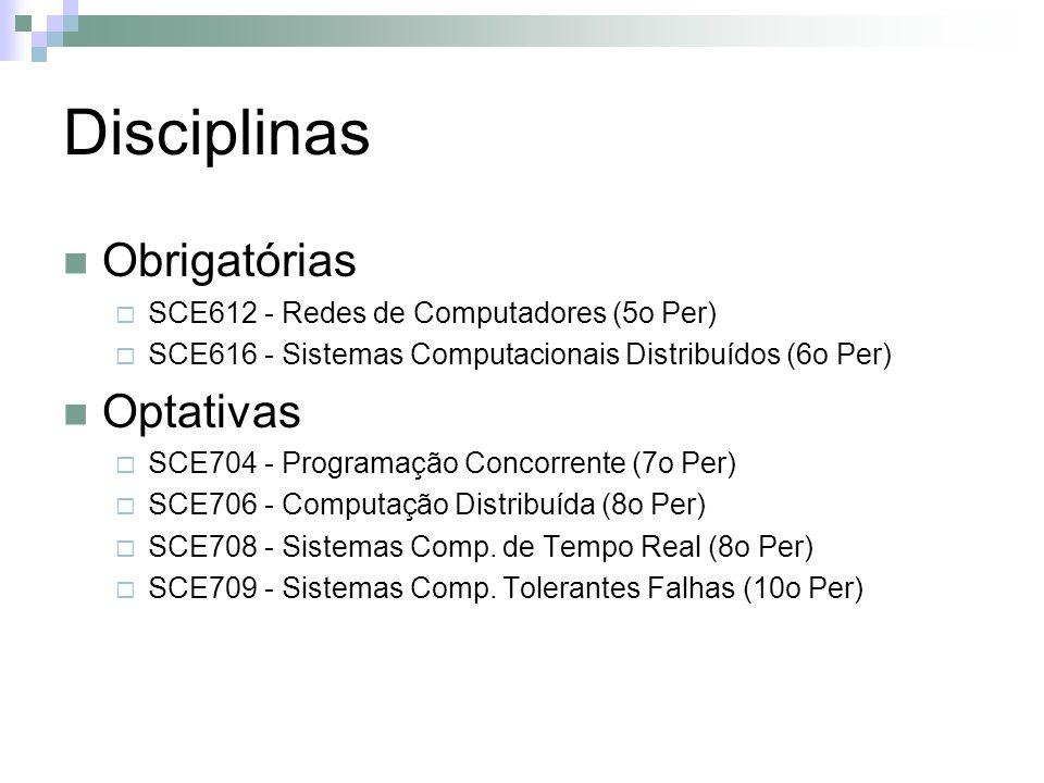 Disciplinas Obrigatórias SCE612 - Redes de Computadores (5o Per) SCE616 - Sistemas Computacionais Distribuídos (6o Per) Optativas SCE704 - Programação Concorrente (7o Per) SCE706 - Computação Distribuída (8o Per) SCE708 - Sistemas Comp.