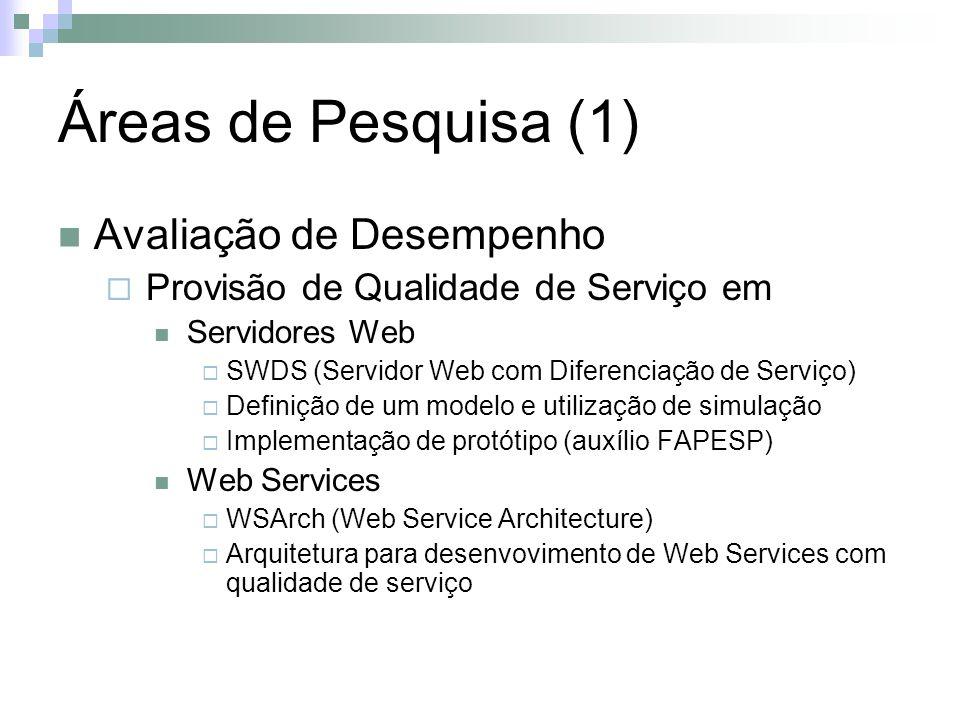 Áreas de Pesquisa (1) Avaliação de Desempenho Provisão de Qualidade de Serviço em Servidores Web SWDS (Servidor Web com Diferenciação de Serviço) Definição de um modelo e utilização de simulação Implementação de protótipo (auxílio FAPESP) Web Services WSArch (Web Service Architecture) Arquitetura para desenvovimento de Web Services com qualidade de serviço