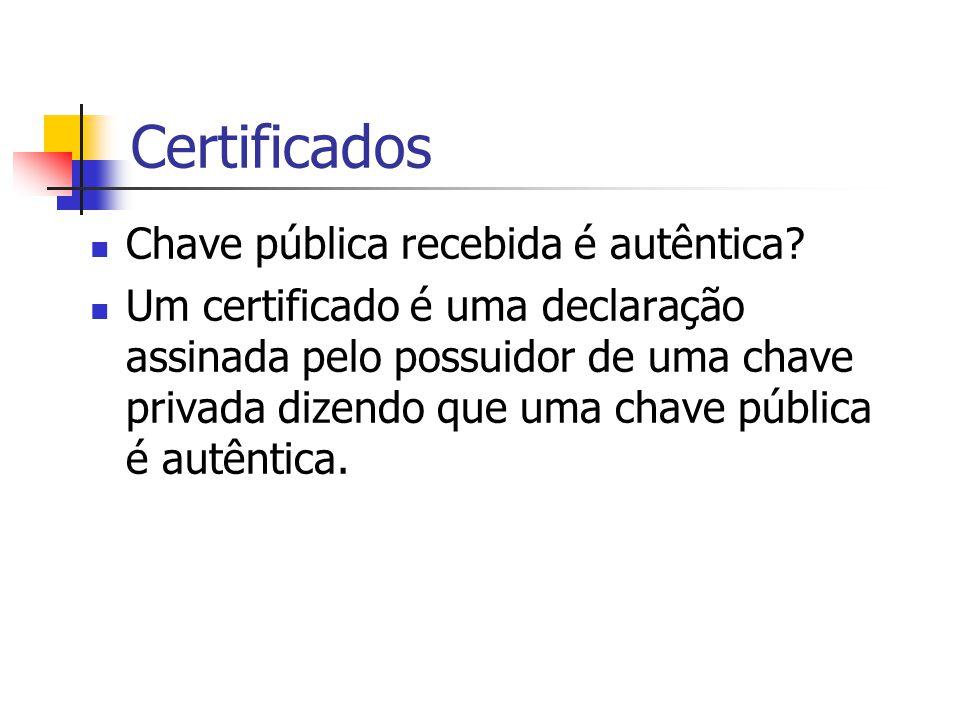 Certificados Chave pública recebida é autêntica? Um certificado é uma declaração assinada pelo possuidor de uma chave privada dizendo que uma chave pú
