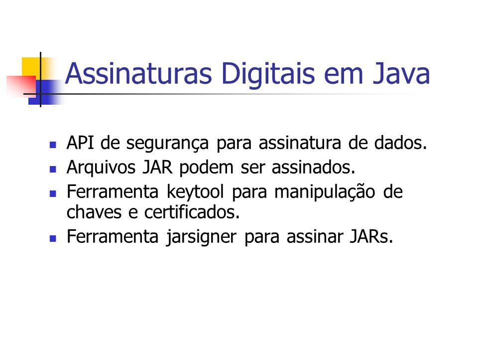 Assinaturas Digitais em Java API de segurança para assinatura de dados. Arquivos JAR podem ser assinados. Ferramenta keytool para manipulação de chave