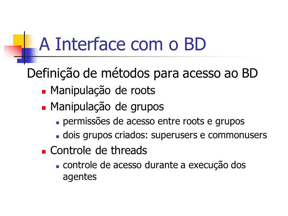 A Interface com o BD Definição de métodos para acesso ao BD Manipulação de roots Manipulação de grupos permissões de acesso entre roots e grupos dois