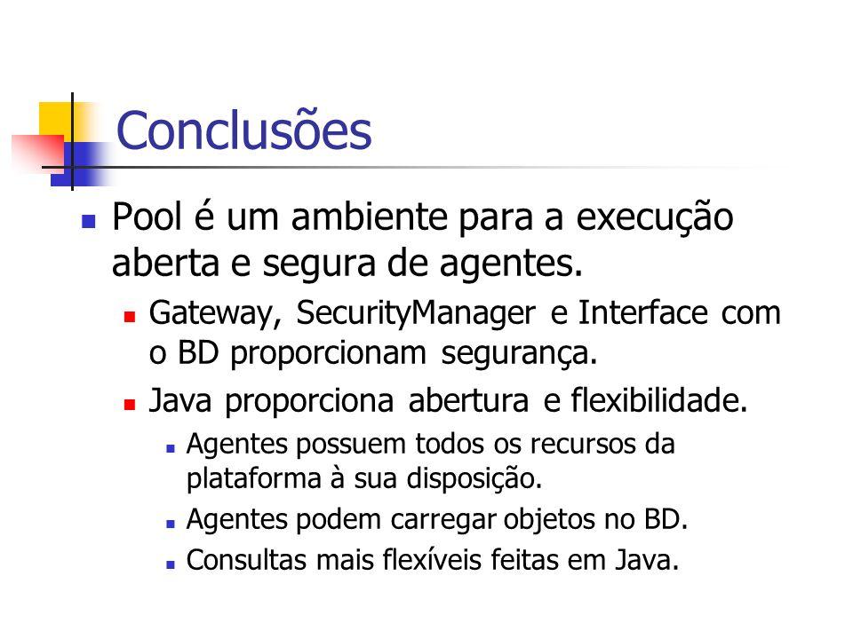 Conclusões Pool é um ambiente para a execução aberta e segura de agentes. Gateway, SecurityManager e Interface com o BD proporcionam segurança. Java p