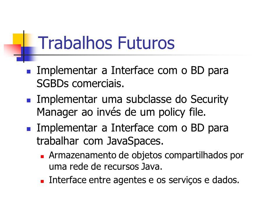 Trabalhos Futuros Implementar a Interface com o BD para SGBDs comerciais. Implementar uma subclasse do Security Manager ao invés de um policy file. Im