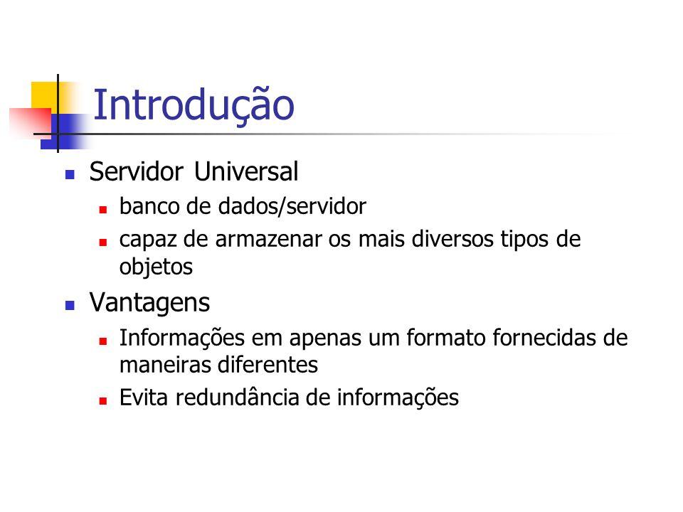 Introdução Servidor Universal banco de dados/servidor capaz de armazenar os mais diversos tipos de objetos Vantagens Informações em apenas um formato