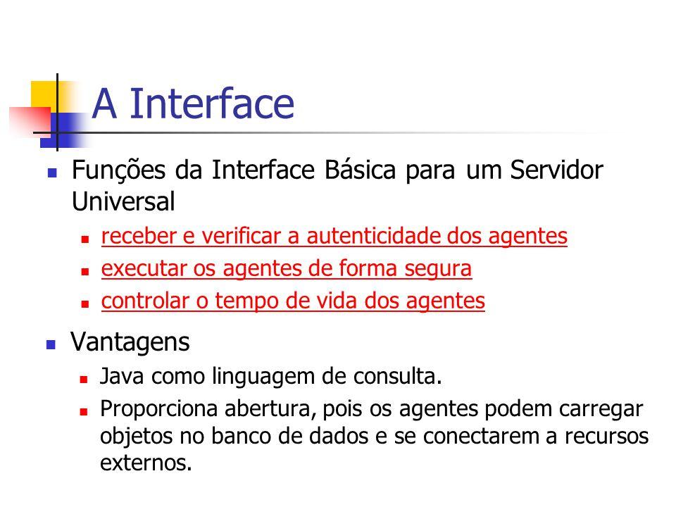 A Interface Funções da Interface Básica para um Servidor Universal receber e verificar a autenticidade dos agentes executar os agentes de forma segura