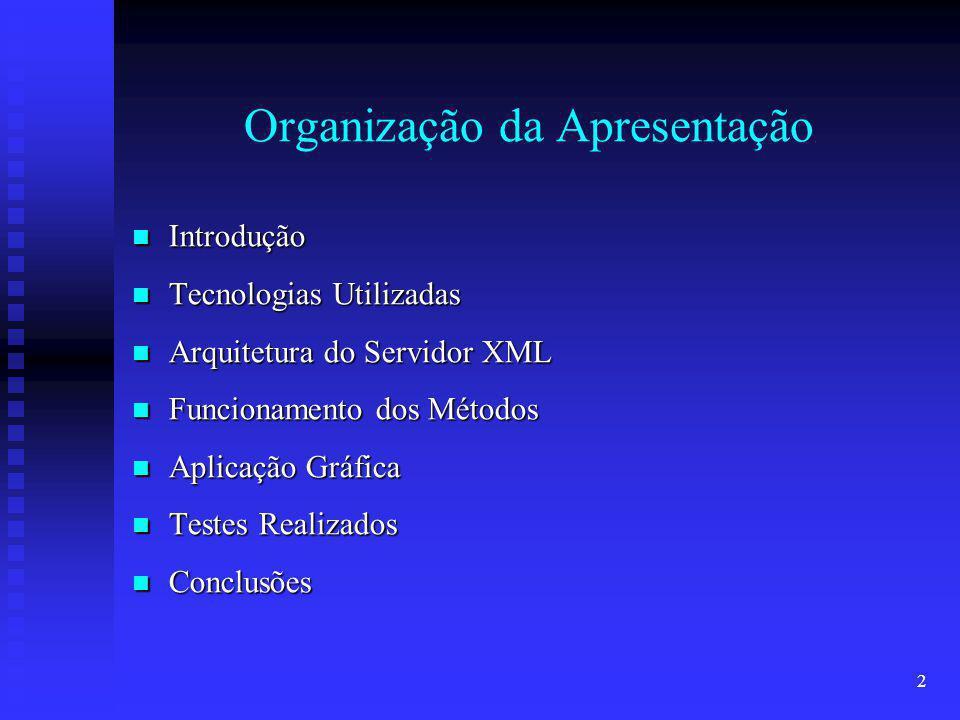 2 Organização da Apresentação Introdução Introdução Tecnologias Utilizadas Tecnologias Utilizadas Arquitetura do Servidor XML Arquitetura do Servidor XML Funcionamento dos Métodos Funcionamento dos Métodos Aplicação Gráfica Aplicação Gráfica Testes Realizados Testes Realizados Conclusões Conclusões