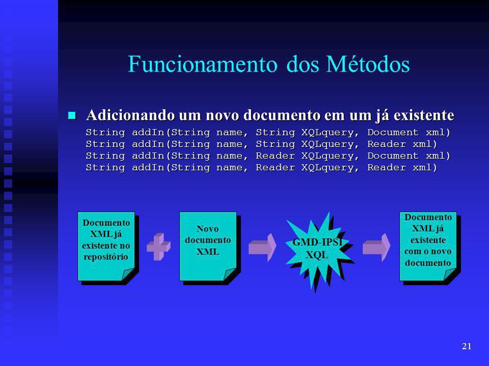 21 Funcionamento dos Métodos Adicionando um novo documento em um já existente Adicionando um novo documento em um já existente String addIn(String name, String XQLquery, Document xml) String addIn(String name, String XQLquery, Reader xml) String addIn(String name, Reader XQLquery, Document xml) String addIn(String name, Reader XQLquery, Reader xml) Documento XML já existente no repositório Documento XML já existente no repositório Documento XML já existente com o novo documento Documento XML já existente com o novo documento GMD-IPSI XQL GMD-IPSI XQL Novo documento XML Novo documento XML