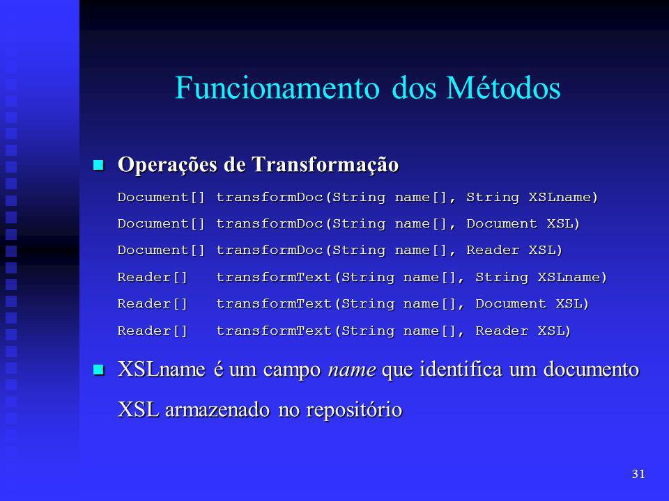 31 Funcionamento dos Métodos Operações de Transformação Operações de Transformação Document[] transformDoc(String name[], String XSLname) Document[] transformDoc(String name[], Document XSL) Document[] transformDoc(String name[], Reader XSL) Reader[] transformText(String name[], String XSLname) Reader[] transformText(String name[], Document XSL) Reader[] transformText(String name[], Reader XSL) XSLname é um campo name que identifica um documento XSL armazenado no repositório XSLname é um campo name que identifica um documento XSL armazenado no repositório