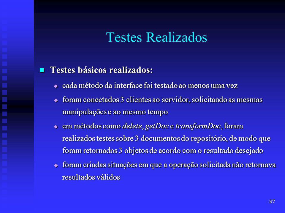 37 Testes Realizados Testes básicos realizados: Testes básicos realizados: cada método da interface foi testado ao menos uma vez cada método da interface foi testado ao menos uma vez foram conectados 3 clientes ao servidor, solicitando as mesmas manipulações e ao mesmo tempo foram conectados 3 clientes ao servidor, solicitando as mesmas manipulações e ao mesmo tempo em métodos como delete, getDoc e transformDoc, foram realizados testes sobre 3 documentos do repositório, de modo que foram retornados 3 objetos de acordo com o resultado desejado em métodos como delete, getDoc e transformDoc, foram realizados testes sobre 3 documentos do repositório, de modo que foram retornados 3 objetos de acordo com o resultado desejado foram criadas situações em que a operação solicitada não retornava resultados válidos foram criadas situações em que a operação solicitada não retornava resultados válidos