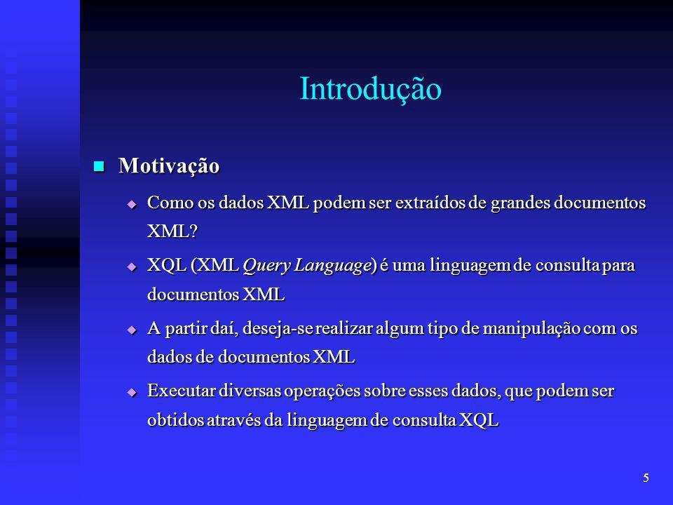 16 Funcionamento dos Métodos Os objetos DOM são armazenados dentro de uma classe, chamada Name, que são as entradas do espaço JavaSpaces Os objetos DOM são armazenados dentro de uma classe, chamada Name, que são as entradas do espaço JavaSpaces Name possui 3 campos: Name possui 3 campos: document - representação DOM do documento a ser armazenado document - representação DOM do documento a ser armazenado name - name único para identificar um DOM name - name único para identificar um DOM dtd - conteúdo do arquivo DTD, caso exista, ou null, caso contrário dtd - conteúdo do arquivo DTD, caso exista, ou null, caso contrário Uma estrutura Vector contém os campos name para identificar quais names estão armazenados no espaço Uma estrutura Vector contém os campos name para identificar quais names estão armazenados no espaço JavaSpaces possui vários Names e um Vector em seu espaço JavaSpaces possui vários Names e um Vector em seu espaço