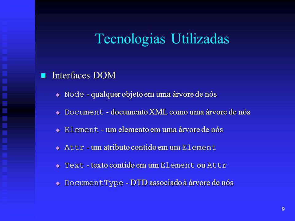 20 O Servidor XML Verificar Validade Verificar Validade Documento não é adicionado no repositório Documento não é adicionado no repositório name = name document = Document(XML) dtd = null name = name document = Document(XML) dtd = null Inválido Válido DTD não está embutido no documento XML DTD está embutido no documento XML name = name document = Document(XML) dtd = String(DTD(XML)) name = name document = Document(XML) dtd = String(DTD(XML)) Name - Pode ser adicionado no repositório se DTD = false
