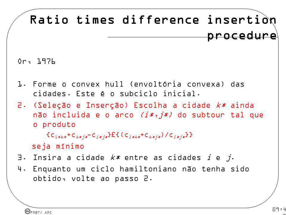 FMBT/ AMC 09:48 12 mar 2009. Ratio times difference insertion procedure Or, 1976 1.Forme o convex hull (envoltória convexa) das cidades. Este é o subc