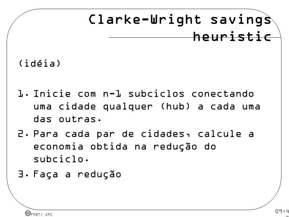FMBT/ AMC 09:48 12 mar 2009. Clarke-Wright savings heuristic (idéia) 1.Inicie com n-1 subciclos conectando uma cidade qualquer (hub) a cada uma das ou