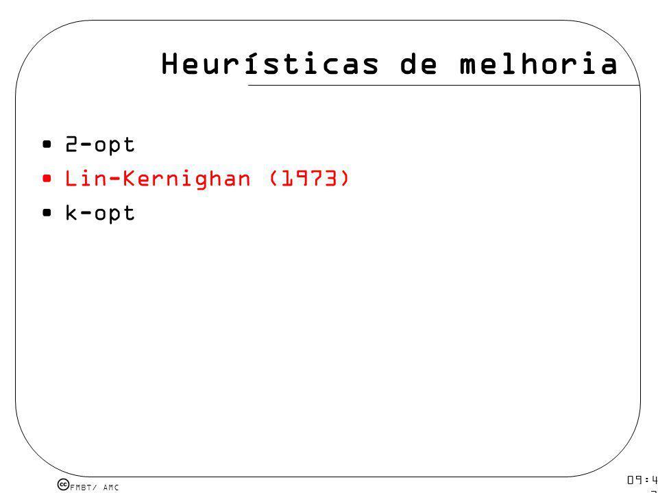 FMBT/ AMC 09:48 12 mar 2009. Heurísticas de melhoria 2-opt Lin-Kernighan (1973) k-opt