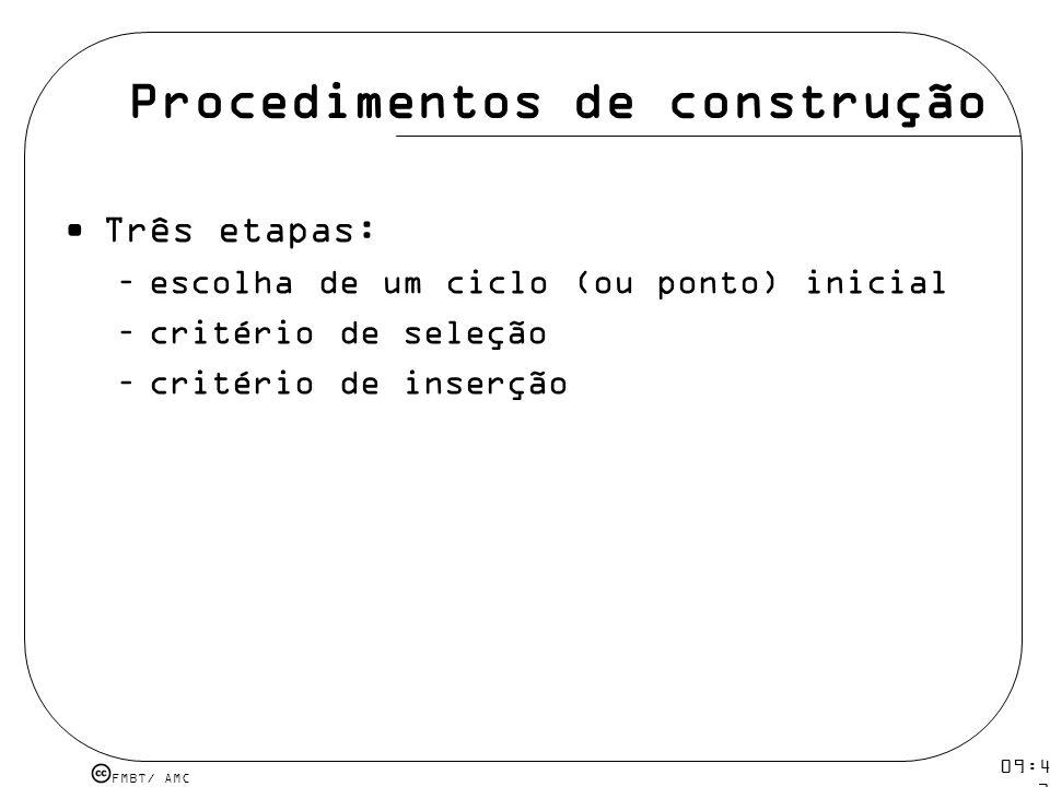 FMBT/ AMC 09:48 12 mar 2009. Procedimentos de construção Três etapas: –escolha de um ciclo (ou ponto) inicial –critério de seleção –critério de inserç