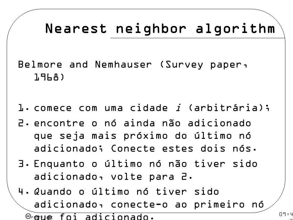 FMBT/ AMC 09:48 12 mar 2009. Nearest neighbor algorithm Belmore and Nemhauser (Survey paper, 1968) 1.comece com uma cidade i (arbitrária); 2.encontre