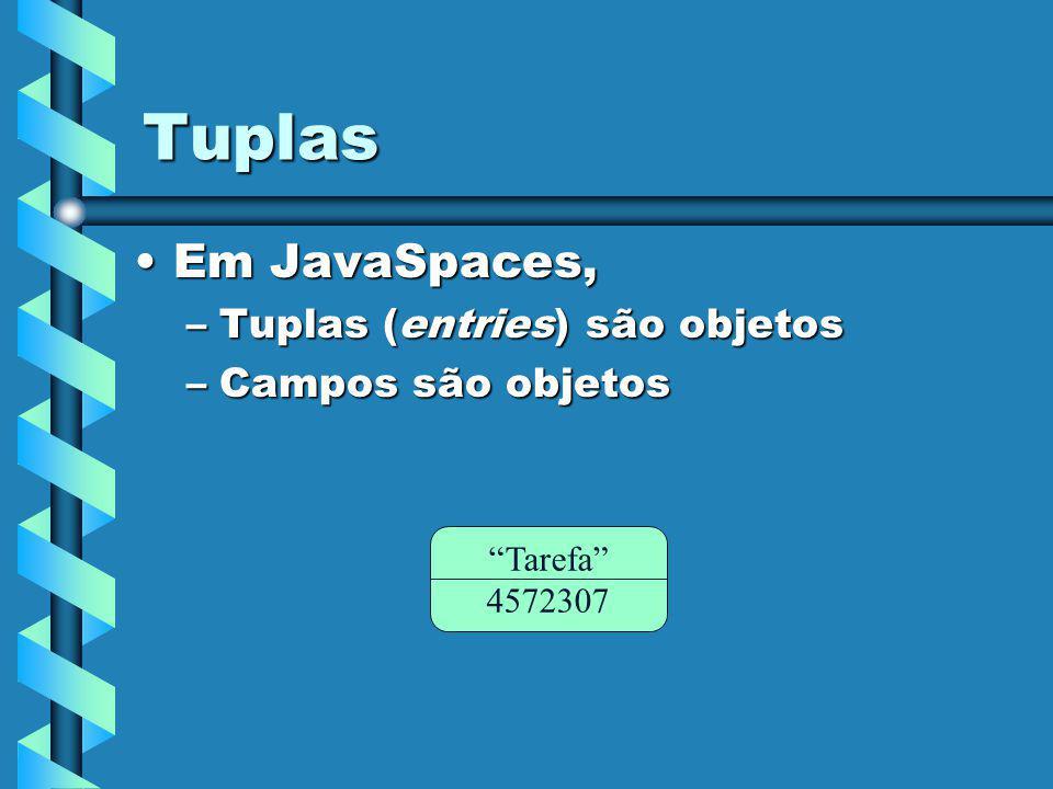 Tuplas Em JavaSpaces,Em JavaSpaces, –Tuplas (entries) são objetos –Campos são objetos Tarefa 4572307