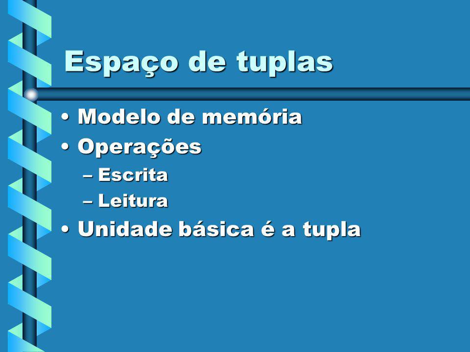 Espaço de tuplas Modelo de memóriaModelo de memória OperaçõesOperações –Escrita –Leitura Unidade básica é a tuplaUnidade básica é a tupla