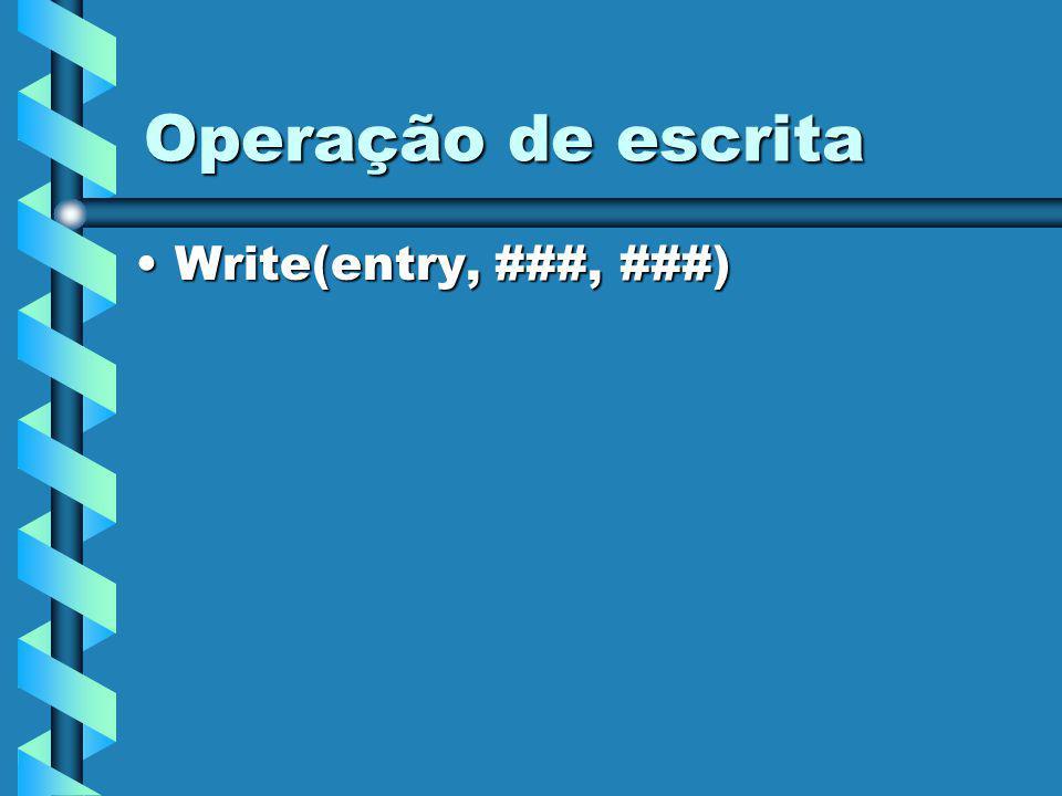 Operação de escrita Write(entry, ###, ###)Write(entry, ###, ###)