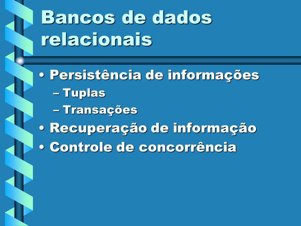 Bancos de dados relacionais Persistência de informaçõesPersistência de informações –Tuplas –Transações Recuperação de informaçãoRecuperação de informação Controle de concorrênciaControle de concorrência