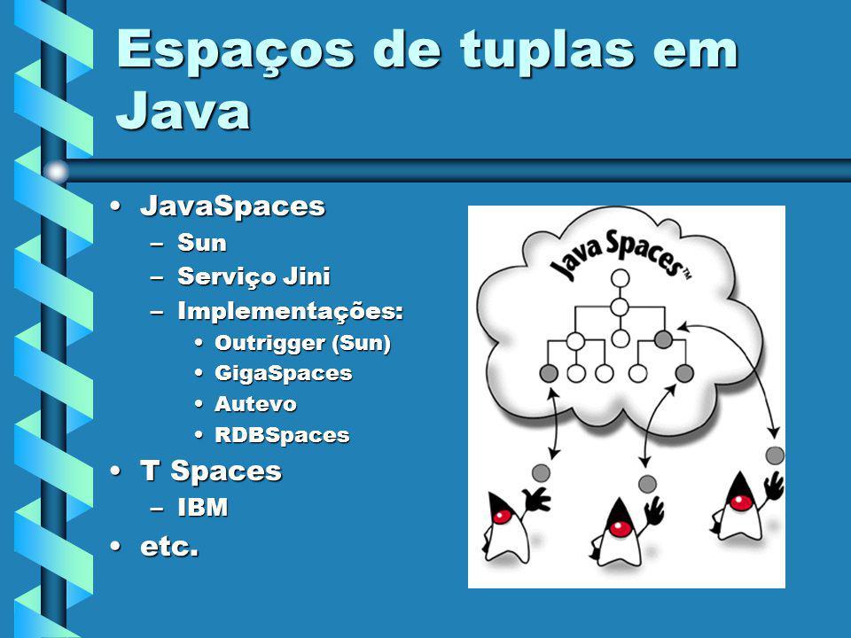 Problemas Implementações de JavaSpaces requerem o setup completo de JiniImplementações de JavaSpaces requerem o setup completo de Jini Licenças proprietáriasLicenças proprietárias –JavaSpaces: SCSL –IBM –Outrigger requer tecnologia proprietária para persistência