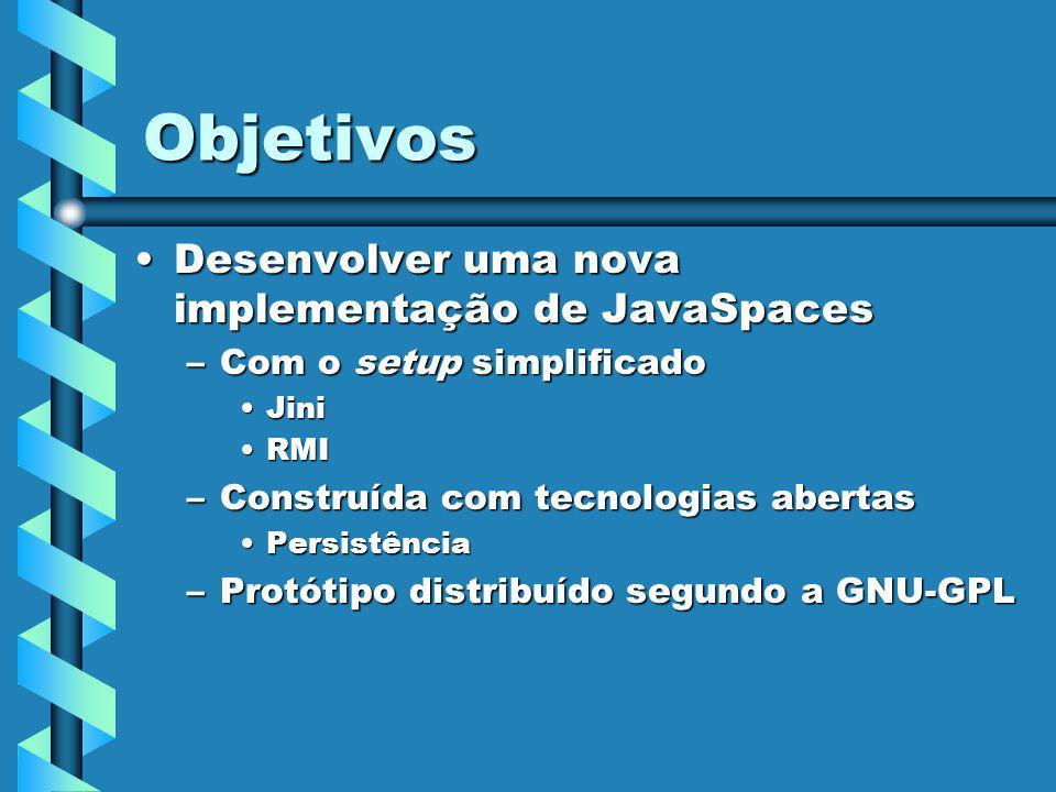 Objetivos Desenvolver uma nova implementação de JavaSpacesDesenvolver uma nova implementação de JavaSpaces –Com o setup simplificado JiniJini RMIRMI –Construída com tecnologias abertas PersistênciaPersistência –Protótipo distribuído segundo a GNU-GPL