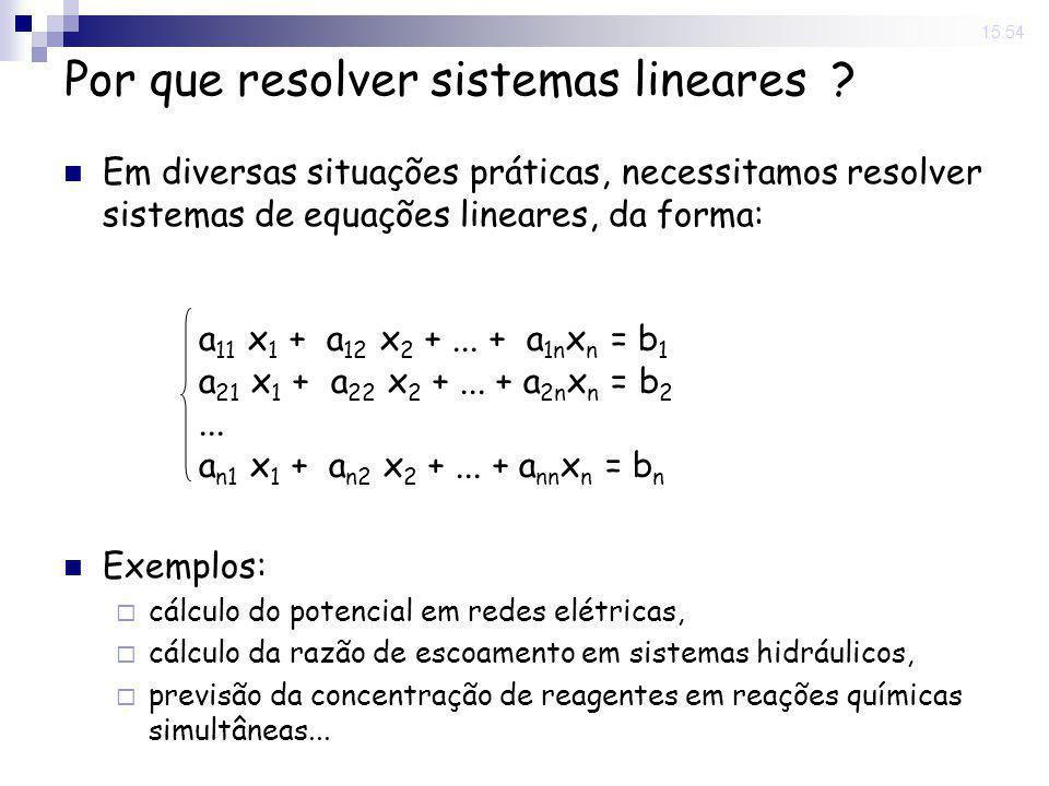 15:54 Por que resolver sistemas lineares ? Em diversas situações práticas, necessitamos resolver sistemas de equações lineares, da forma: Exemplos: cá