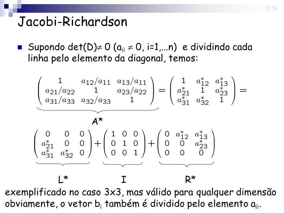 14 Nov 2008. 15:54 Jacobi-Richardson Supondo det(D) 0 (a ii 0, i=1,...n) e dividindo cada linha pelo elemento da diagonal, temos: A* L*IR* exemplifica