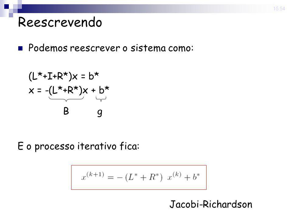 14 Nov 2008. 15:54 Reescrevendo Podemos reescrever o sistema como: (L*+I+R*)x = b* x = -(L*+R*)x + b* E o processo iterativo fica: Bg Jacobi-Richardso
