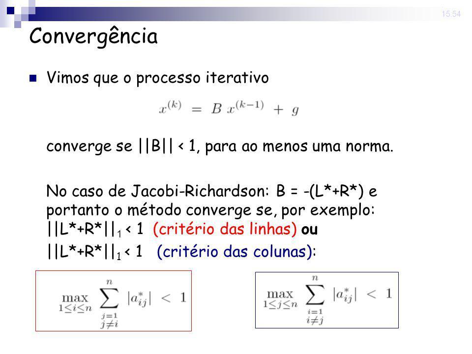 14 Nov 2008. 15:54 Convergência Vimos que o processo iterativo converge se ||B|| < 1, para ao menos uma norma. No caso de Jacobi-Richardson: B = -(L*+