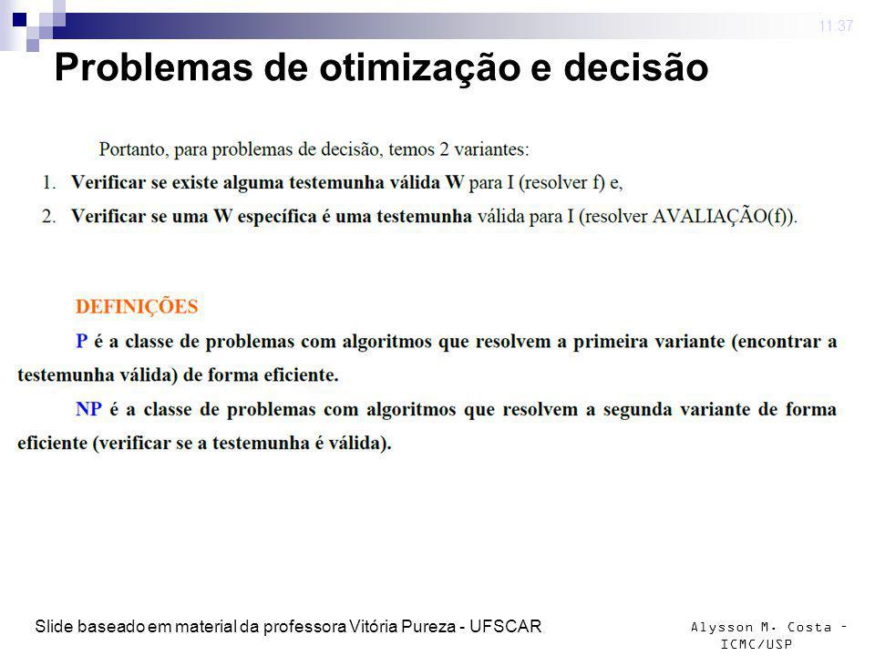 Alysson M. Costa – ICMC/USP Problemas de otimização e decisão 4 mar 2009. 11:37 Slide baseado em material da professora Vitória Pureza - UFSCAR