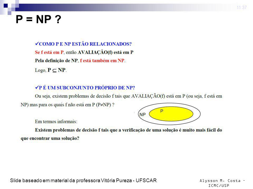 Alysson M. Costa – ICMC/USP P = NP ? 4 mar 2009. 11:37 Slide baseado em material da professora Vitória Pureza - UFSCAR
