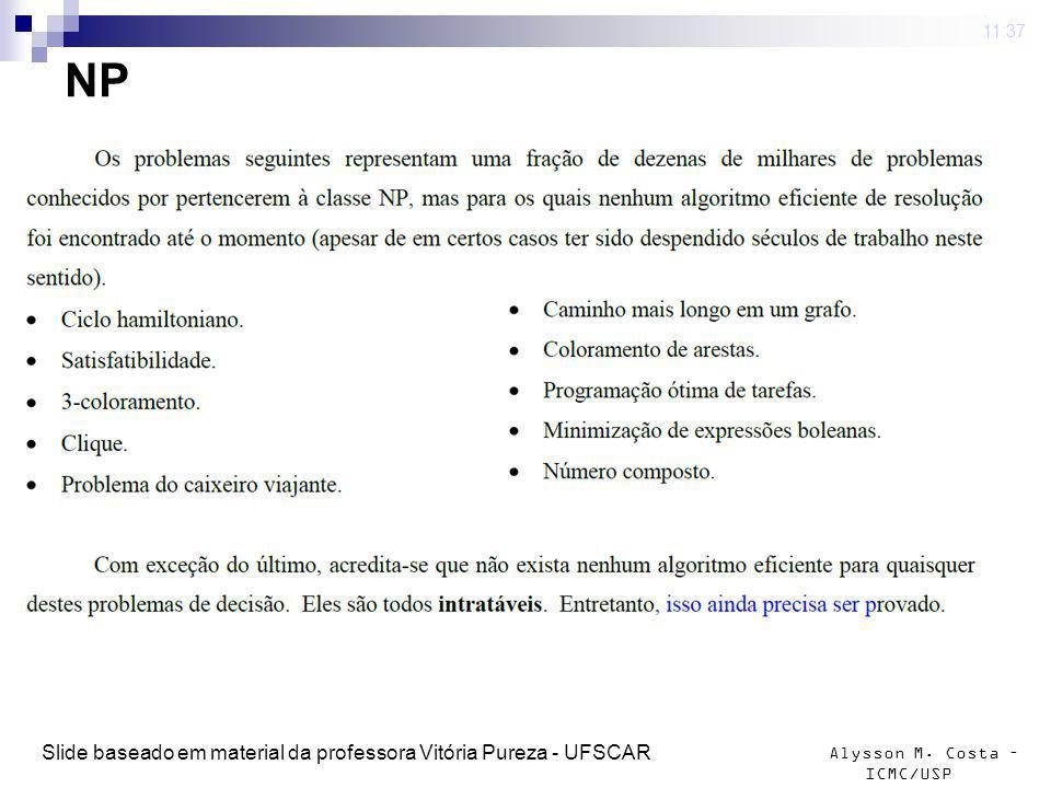 Alysson M. Costa – ICMC/USP NP 4 mar 2009. 11:37 Slide baseado em material da professora Vitória Pureza - UFSCAR