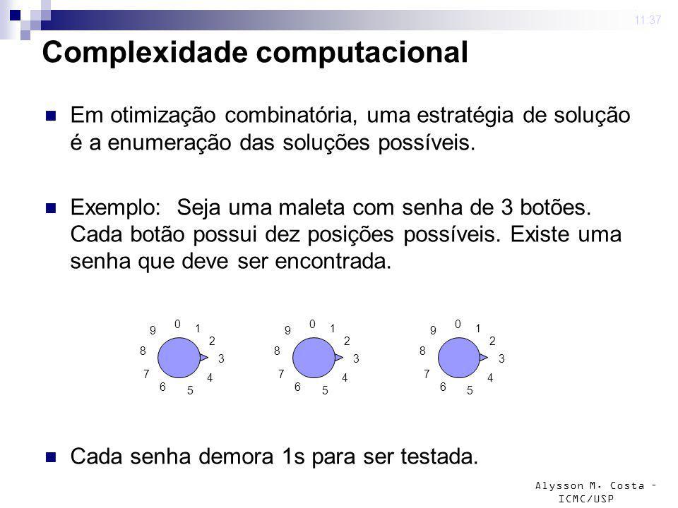 Alysson M. Costa – ICMC/USP 4 mar 2009. 11:37 Complexidade computacional Em otimização combinatória, uma estratégia de solução é a enumeração das solu