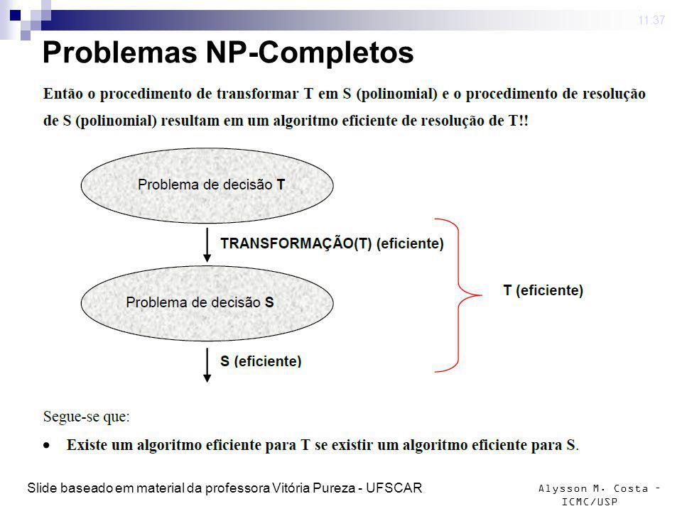 Alysson M. Costa – ICMC/USP Problemas NP-Completos 4 mar 2009. 11:37 Slide baseado em material da professora Vitória Pureza - UFSCAR