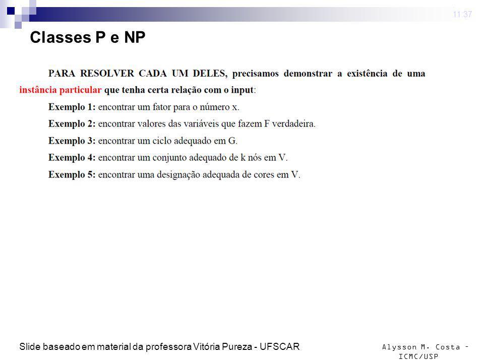 Alysson M. Costa – ICMC/USP Classes P e NP 4 mar 2009. 11:37 Slide baseado em material da professora Vitória Pureza - UFSCAR