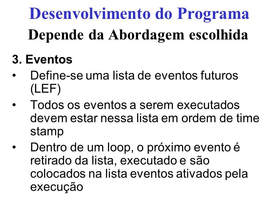 Depende da Abordagem escolhida 3. Eventos Define-se uma lista de eventos futuros (LEF) Todos os eventos a serem executados devem estar nessa lista em