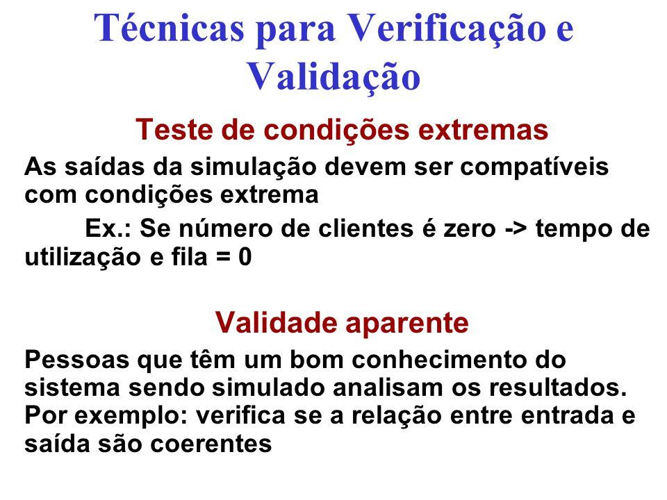 Técnicas para Verificação e Validação Teste de condições extremas As saídas da simulação devem ser compatíveis com condições extrema Ex.: Se número de