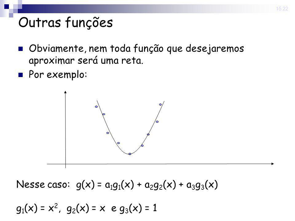 12 Jun 2008. 15:22 Outras funções Obviamente, nem toda função que desejaremos aproximar será uma reta. Por exemplo: Nesse caso: g(x) = a 1 g 1 (x) + a