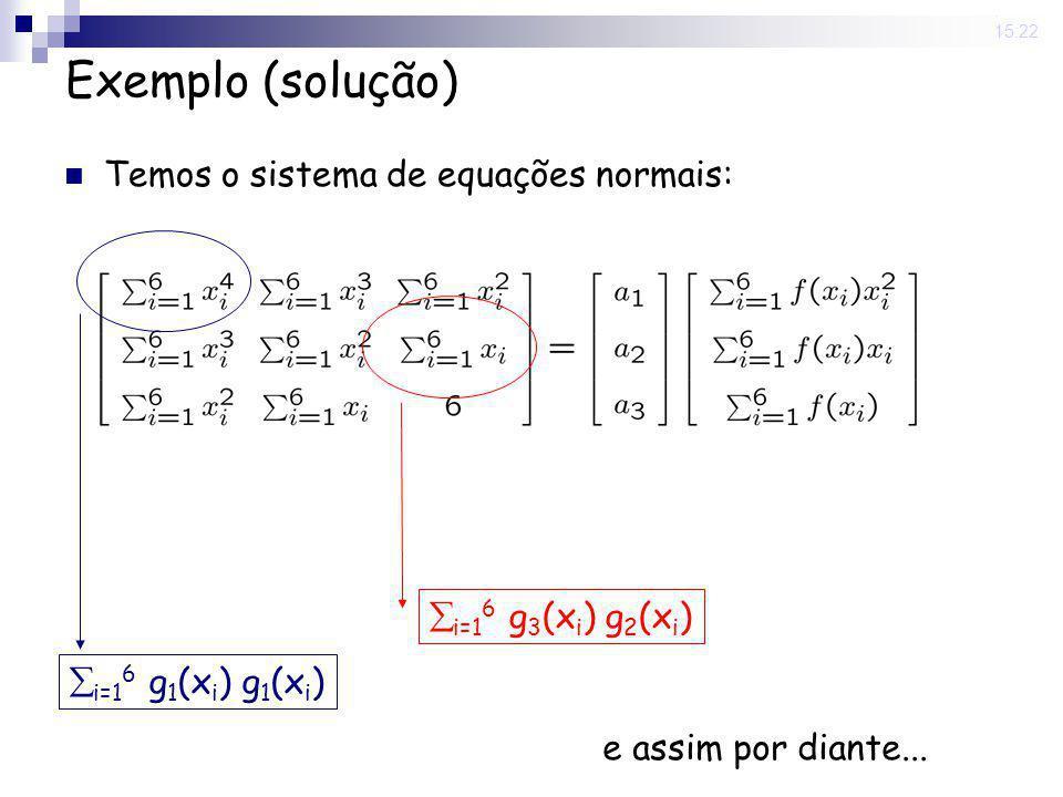 12 Jun 2008. 15:22 Exemplo (solução) Temos o sistema de equações normais: i=1 6 g 1 (x i ) g 1 (x i ) i=1 6 g 3 (x i ) g 2 (x i ) e assim por diante..