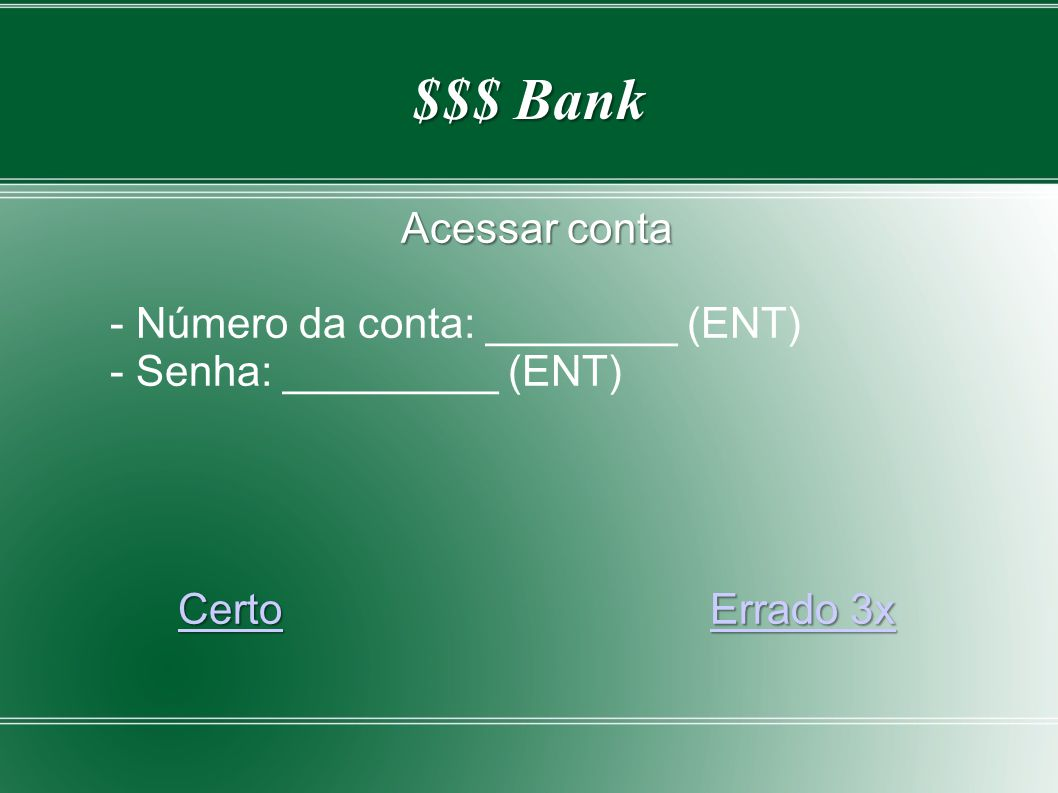 $$$ Bank Emitir cheques Valor: ____________(ENT)