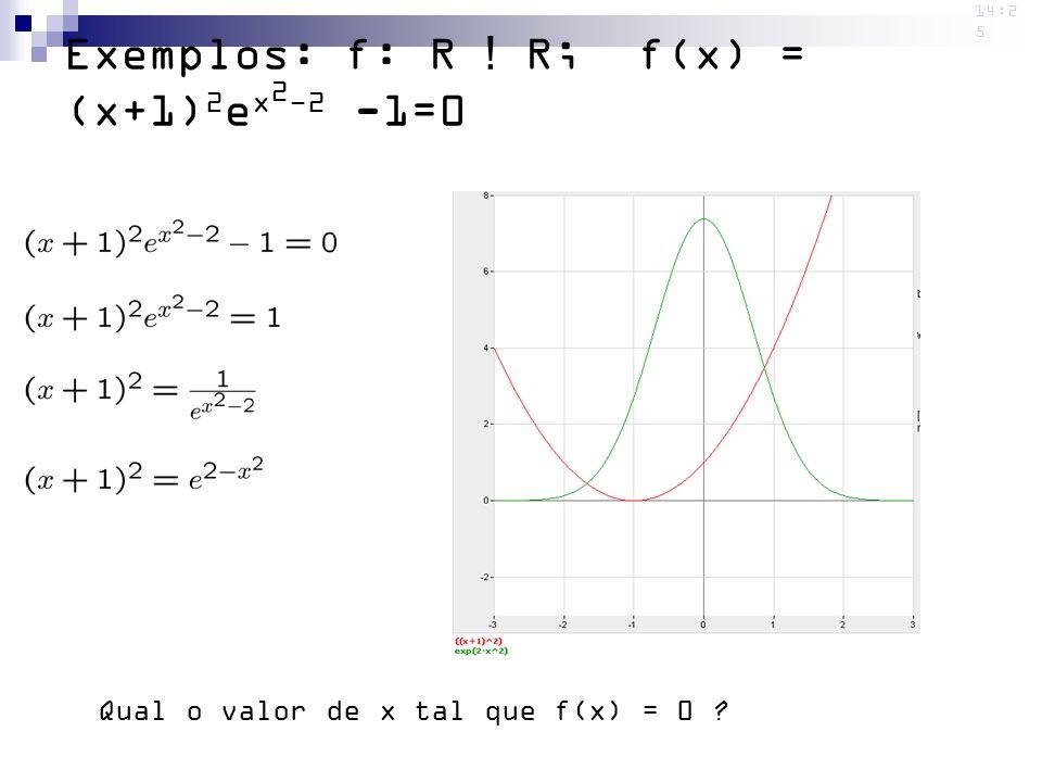 14:2 5 Exemplos: f: R ! R; f(x) = (x+1) 2 e x 2 -2 -1=0 Qual o valor de x tal que f(x) = 0 ?