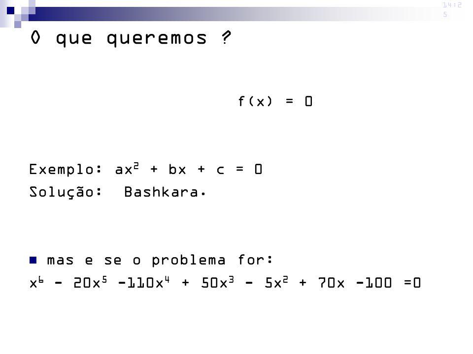 14:2 5 O que queremos ? f(x) = 0 Exemplo: ax 2 + bx + c = 0 Solução: Bashkara. mas e se o problema for: x 6 - 20x 5 -110x 4 + 50x 3 - 5x 2 + 70x -100