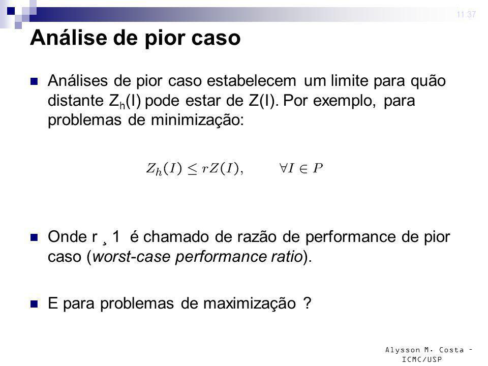 Alysson M. Costa – ICMC/USP Análise de pior caso Análises de pior caso estabelecem um limite para quão distante Z h (I) pode estar de Z(I). Por exempl