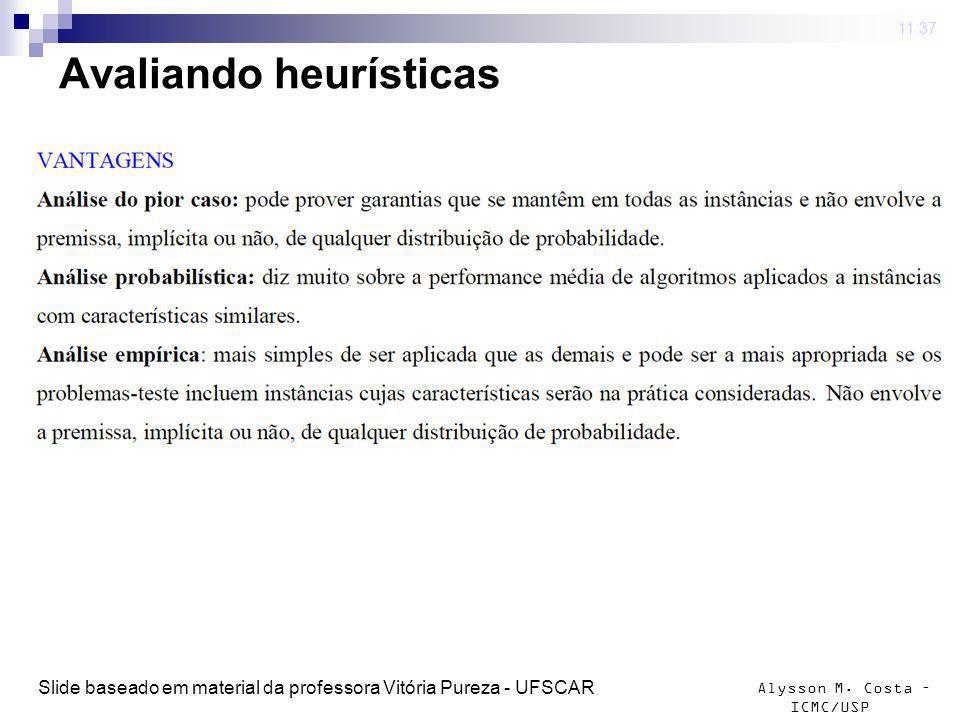 Alysson M. Costa – ICMC/USP Avaliando heurísticas 4 mar 2009. 11:37 Slide baseado em material da professora Vitória Pureza - UFSCAR