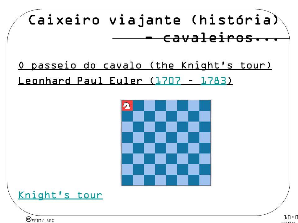FMBT/ AMC 10:08 5 mar 2009. Caixeiro viajante (história) - cavaleiros... O passeio do cavalo (the Knight's tour) Leonhard Paul Euler (1707 – 1783)1707
