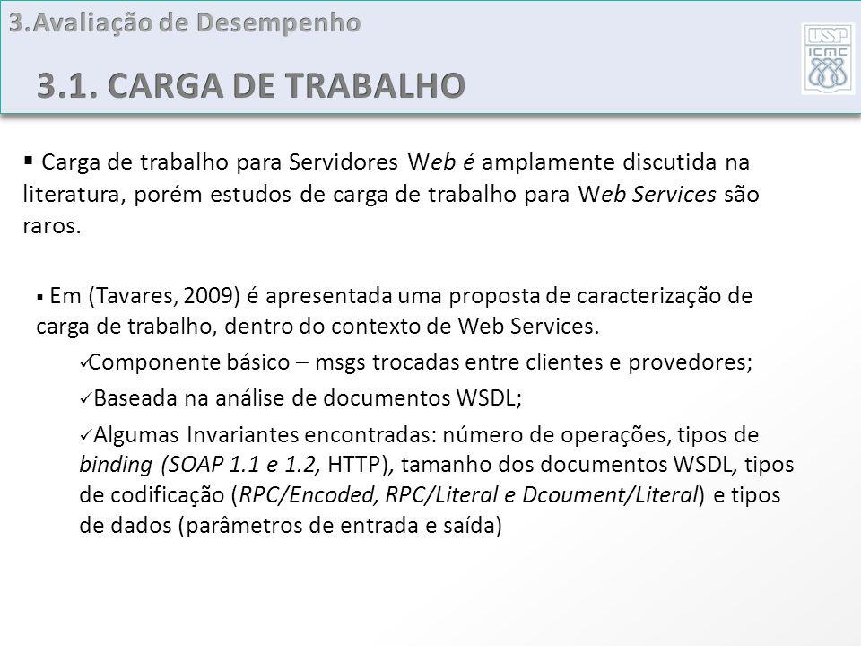 Carga de trabalho para Servidores Web é amplamente discutida na literatura, porém estudos de carga de trabalho para Web Services são raros. Em (Tavare