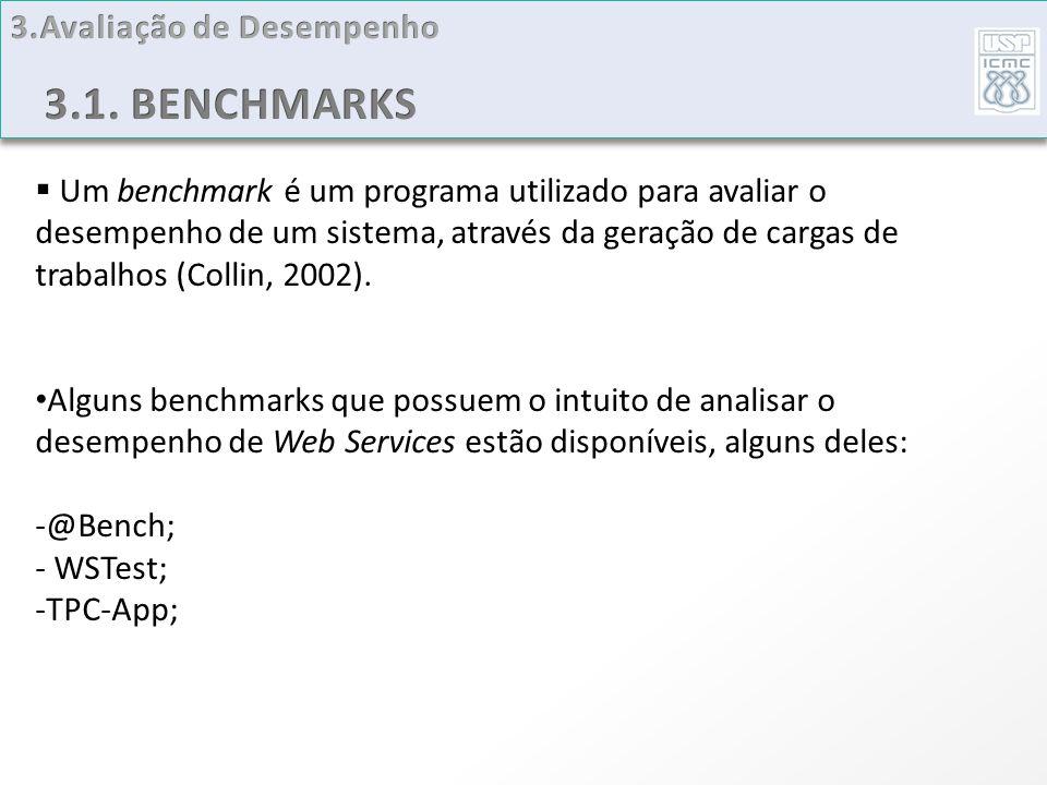 Um benchmark é um programa utilizado para avaliar o desempenho de um sistema, através da geração de cargas de trabalhos (Collin, 2002). Alguns benchma