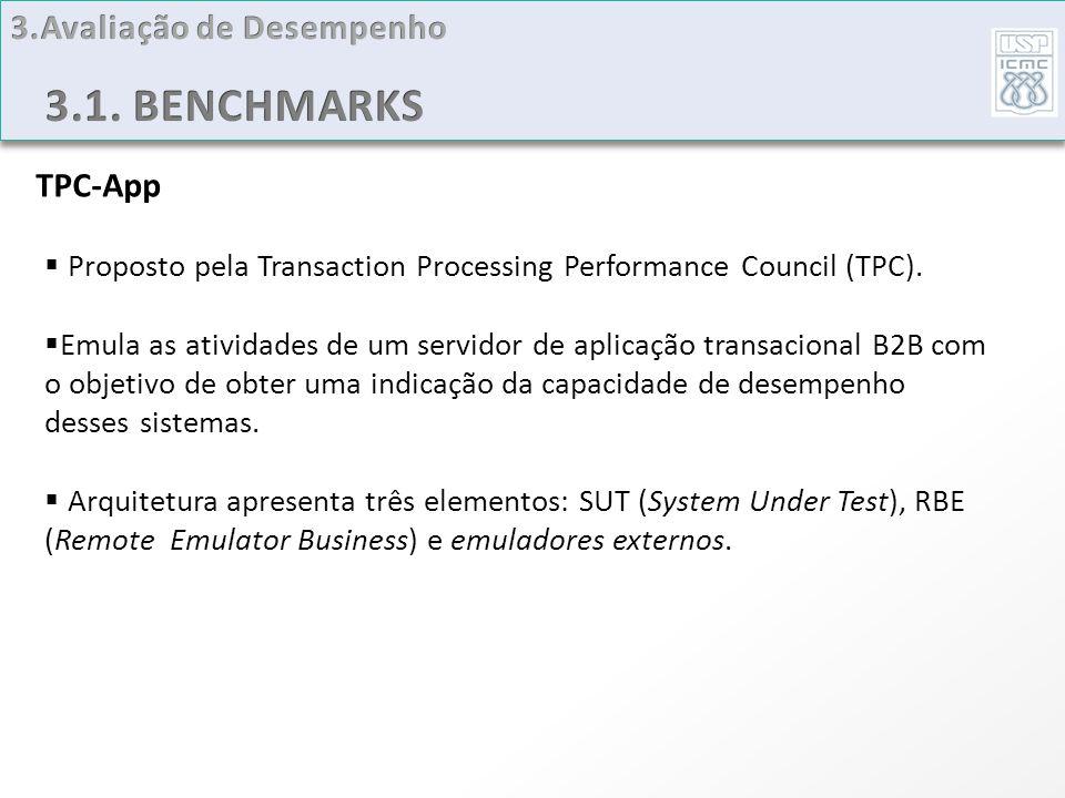 TPC-App Proposto pela Transaction Processing Performance Council (TPC). Emula as atividades de um servidor de aplicação transacional B2B com o objetiv